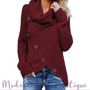 WINE RED BUTTON EMBELLISHED SWEATER